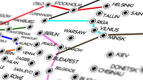 Europe Map Network Design Macro 2 Animation