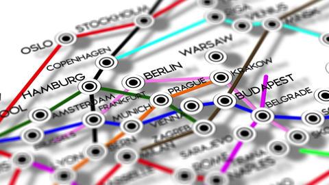 Europe Map Network Design Macro 4 Stock Video Footage