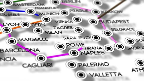 Europe Map Network Design Macro 6 Stock Video Footage