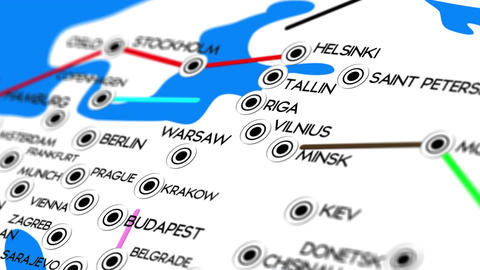 Europe Map Network Design Macro 8 Stock Video Footage