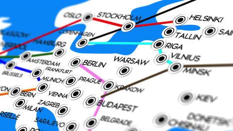 Europe Map Network Design Macro 8 Animation