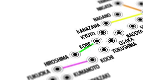 Japan Map Network Design Macro 1 Stock Video Footage