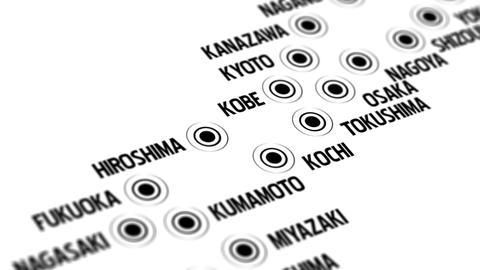 Japan Map Network Design Macro 3 Stock Video Footage