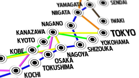 Japan Map Network Design Macro 3 Animation