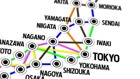 Japan Map Network Design Macro 3 Stock Video Footage