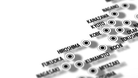 Japan Map Network Design Macro 7 Stock Video Footage