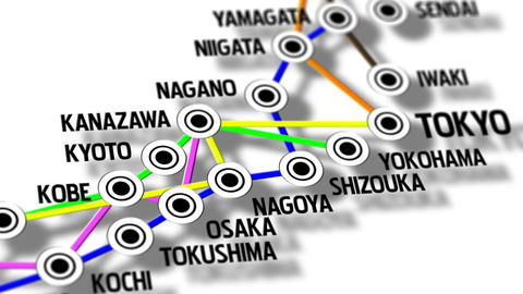 Japan Map Network Design Macro 9 Animation