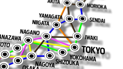 Japan Map Network Design Macro 9 Stock Video Footage