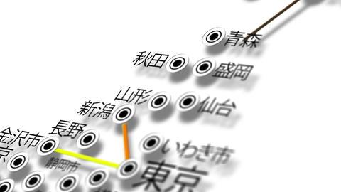 Japan Map Network Design Macro 11 Stock Video Footage