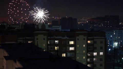 City in fireworks loop Stock Video Footage