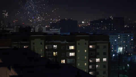 City in fireworks loop Stock Video Footage