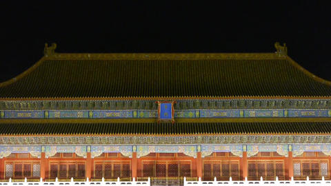 close-up of Beijing Forbidden City palace WuMen & the Great Wall battlements Footage