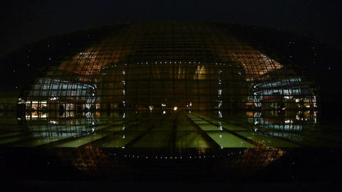BeiJing China National Grand Theatre in reflection in... Stock Video Footage