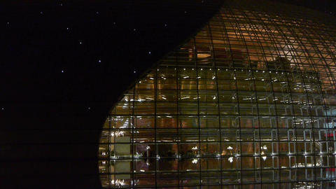 BeiJing China National Grand Theatre glass house at night.ornate modern architec Footage