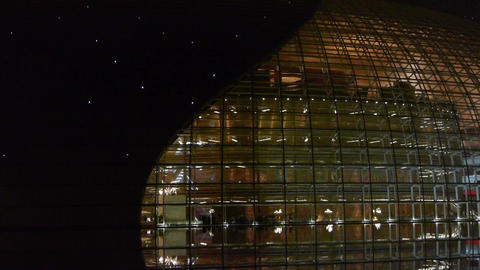 BeiJing China National Grand Theatre glass house at... Stock Video Footage