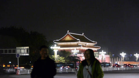 Beijing Tiananmen Square night scene,bustling Chang'an... Stock Video Footage