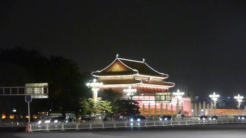 Beijing Tiananmen Square night scene,bustling Chang'an Street,Busy traffic Footage
