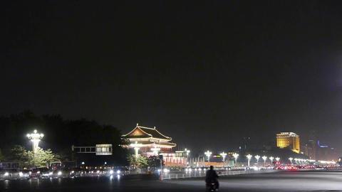 Beijing Tiananmen Square night scene,bustling Chang'an... Stock Video Footage