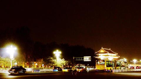 Beijing Tiananmen Square night scene,bustling Chang'an Street,Busy traffic Footage