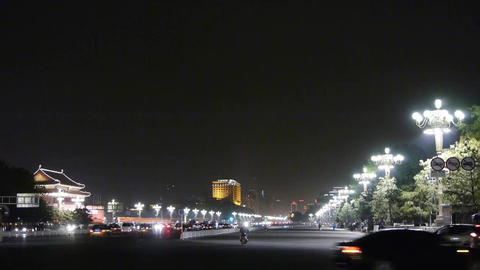 Bustling Chang'an Street night scene,Beijing Tiananmen Square,Busy traffic Footage