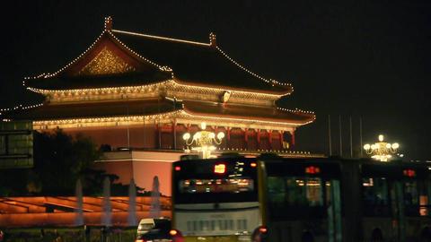 Beijing Tiananmen Square fountains night,Street... Stock Video Footage