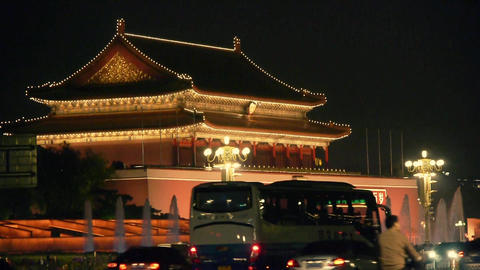Beijing Tiananmen Square fountains night,Street... Stock Video Footage