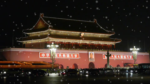 Beijing Tiananmen Square night scene,Chang'an Street traffic in winter snow Footage