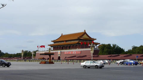 Beijing Tiananmen Square sunny cloud scene,Bustling... Stock Video Footage