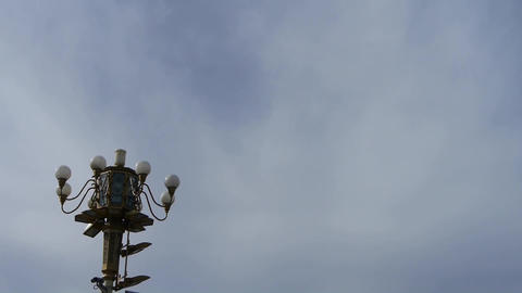 Crane repairman maintenance of Beijing Tiananmen street light monitoring camera Footage