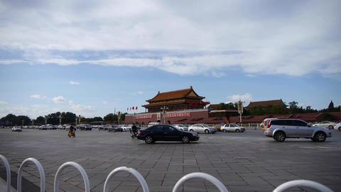 Beijing Tiananmen Square sunny scene,Bustling Street traffic.White railings Footage