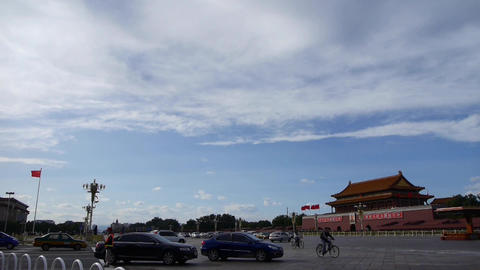 Beijing Tiananmen Square sunny cloud scene,Bustling Chang'an Street,traffic Footage