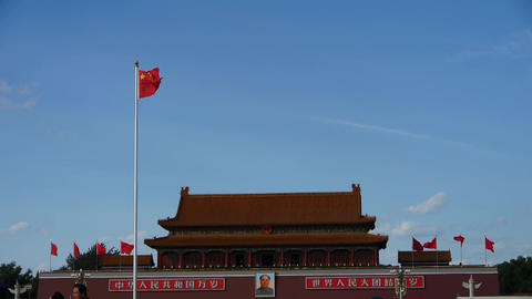 Chinese red flag flutters in wind.China Beijing Tiananmen... Stock Video Footage