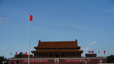 Chinese red flag flutters in wind.China Beijing Tiananmen Square plaza Footage