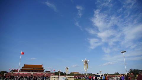 MaoZeDong portrait on Beijing Tiananmen Square,Chinese tourist in Street,cloud Footage