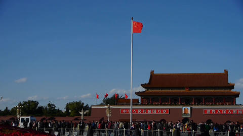 Red flag on Beijing Tiananmen Square,Chinese tourists on... Stock Video Footage