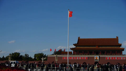 Red flag on Beijing Tiananmen Square,Chinese tourists on broad Street,traffic Footage