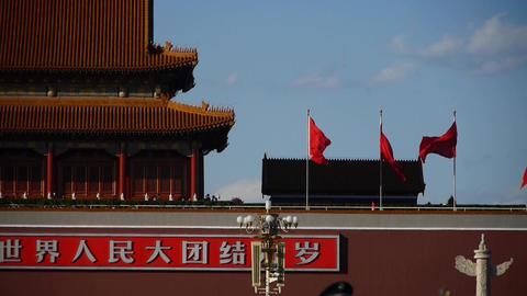 MaoZeDong portrait & Slogans on Beijing Tiananmen Square Stock Video Footage