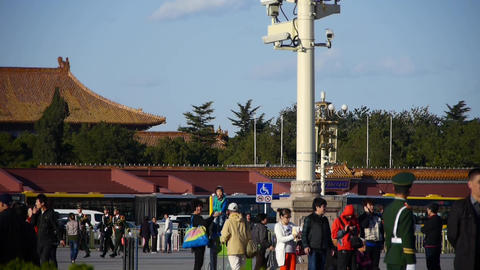 China Police on Beijing Tiananmen Square,Surveillance cameras on street light Footage