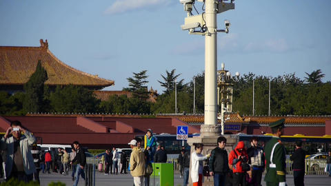 China Police on Beijing Tiananmen Square,Surveillance... Stock Video Footage