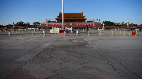 Beijing Tiananmen Square sunny,Bustling broad plaza... Stock Video Footage