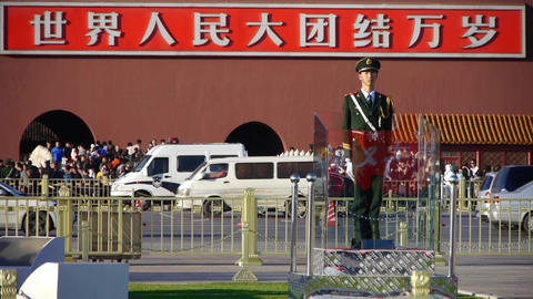 Guard Soldier on Beijing Tiananmen Square,China socialist slogan.Street traffic Footage