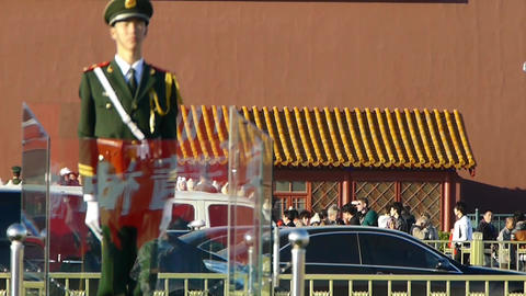 Guard Soldier on Beijing Tiananmen,China socialist red... Stock Video Footage