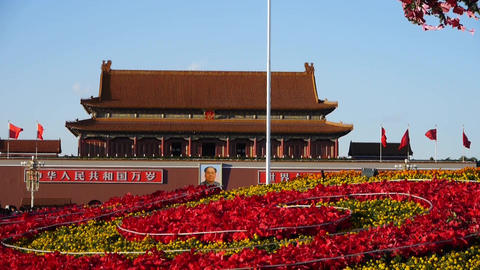 gorgeous parterre full of flowers.Beijing Tiananmen Square Footage