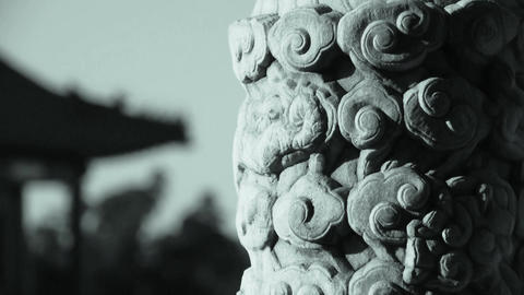 Close-up stone pillars carved sculpture & Cloud... Stock Video Footage
