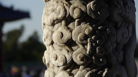 Close-up stone pillars carved sculpture & Cloud pattern.Chinese ancient buil Footage