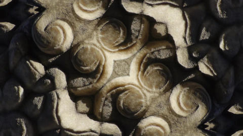 Abstract kaleidoscope.stone pillars carved sculpture... Stock Video Footage