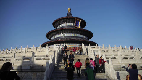 Temple of Heaven in Beijing.China's royal ancient architecture.Stone railings Footage