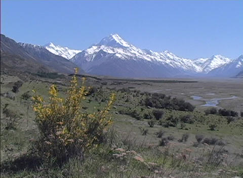 An establishing-shot of Mount Cook in New Zealand Footage