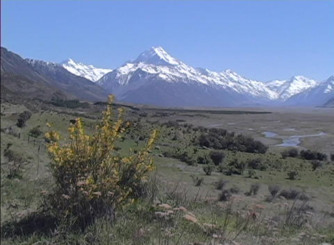 An establishing-shot of Mount Cook in New Zealand Stock Video Footage