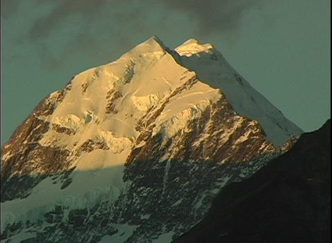 Mount Cook, a majestic peak, stands out among the Southern Alps in New Zealand Footage